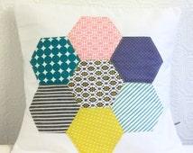 Cushion Pillow Cover Modern Patchwork Hexagon Flower