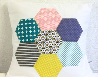Cushion Pillow Cover Modern Patchwork Hexagon Flower