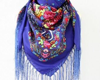 Russian scarf Ukrainian shawl russian shawl ukrainian scarf royal blue russia scarf floral scarf fringe scarf fall fashion scarves for women