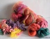 NEW Spring Art Yarn Fiber Kit, Fiber Semi textured Batt, BFL type Locks, Targhee RAmbouillet Top #A1