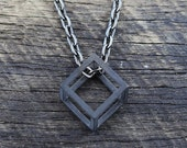 Gifts for Him Valentines Day Gift Geometric Black Jewelry Man Cube Pendant Mens Jewellery