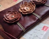 Ready to Ship Brown Tan Leather Wristlet Clutch Small Purse Iphone Galaxy Cell Phone Brown Poppy Flowers with Key Fob