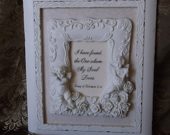 Song of Solomon, I have found whom my soul loves, repurposed shabby wall decor, shabby white