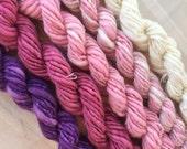 Mini Skeins  handspun hand spun hand dyed knitting crochet supplies wool yarn  Waldorf Doll hair merino baby photo pro