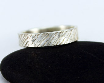"Handcrafted Size 5 1/2 Ring Sterling Silver Narrow Band Hand Stamped Textured Design ""Spring Rains""  Artisan Minimalist Design 0954619091316"
