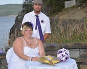 Paper Rosette Fan Wedding Bouquet & Boutonniere Set: Made to Order