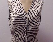 Sale Valentines 1980s Zebra Print Vest by Delta Burke Collection, Black and Creamy White, Size Large/XL,  #50298
