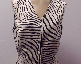 Sale Valentines 1980s Zebra Print Vest by Delta Burke Collection, Black and Creamy White, Size Large/XL,  #50298