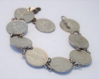 Vintage coin bracelet.  Belgian coin bracelet. Belguim