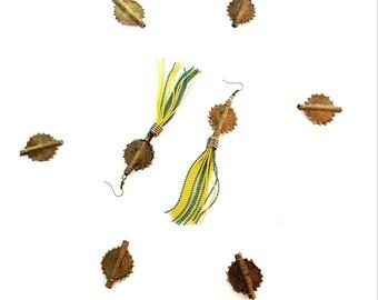 Large, African brass pendant earrings//dramatic drop dangle earrings//bead chain tassel earrings