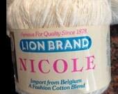 Lion Brand Nicole Yarn, Cotton, Linen and Acrylic Blend from Belgium, 1 skein White, 2 ply Slubby, Textured Yarn