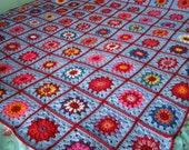 Lavender Granny Square Crochet Blanket Afghan Vintage Style 60 x 60 Wisteria