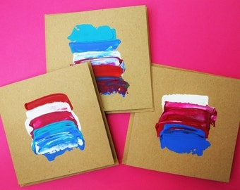 Red, Pink and Blue - 3 original art notecards