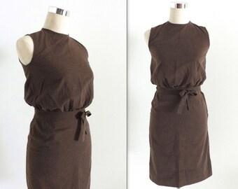 Brown Polka Dot 2 Piece Vintage Dress 1950s XS