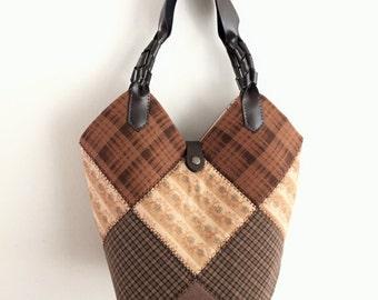 SALE --- Square patched Bag, Quilted Bag, Vintage Style Bag, Tote, Fabric Bag, Quilt Bag, Handmade Bag