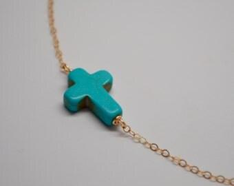 Turquoise Sideways Cross Necklace, Loving You