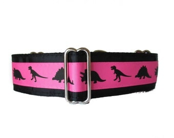 1.5 Inch Martingale Collar, Pink Martingale Collar, Dinosaur Martingale Collar, Dinosaur Dog Collar, Black, Martingale Dog Collar