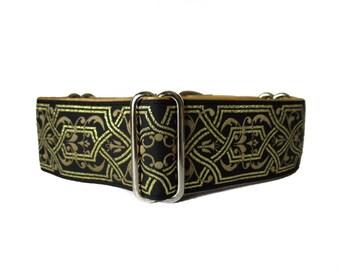 Gold Martingale Collar, 1.5 Inch Dog Collar, Gold Dog Collar, Whippet Collar, Jacquard Dog Collar, Ribbon Dog Collar, Wide Dog Collar