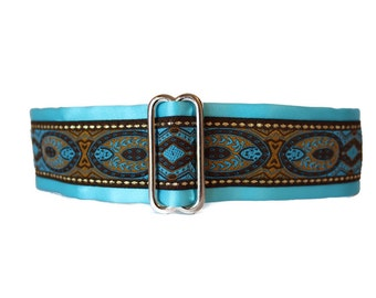 Turquoise Martingale Collar, 1.5 Inch Martingale Collar, Jacquard Dog Collar, Turquoise Dog Collar, Greyhound Collar, Azure Blue