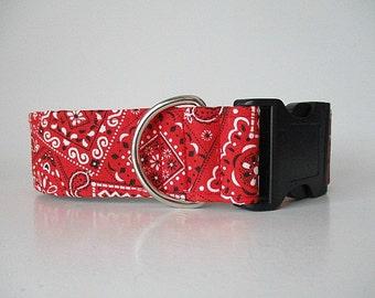 Wide Dog Collar, Bandana Dog Collar, Red Dog Collar, Quick Release Dog Collar, Made in Canada Dog Collars, Dog Collars Canada