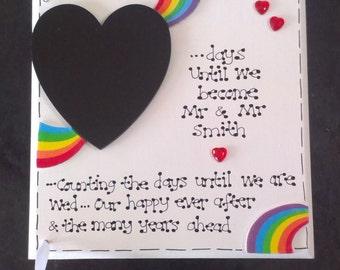 Personalised Wedding Countdown Chalkboard Lesbian Gay Pride Rainbow Gift Plaque