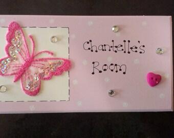 Handmade Wood Personalised Butterfly Pink Girls Nursery Door Gift Plaque Sign