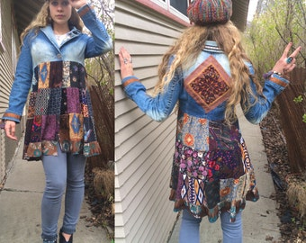 Hippy Patchwork  Jacket, Size XS/S,festival jacket, patchwork blazer, eco jacket, upcycled jacket, hippy coat, denim jacket,Penny Lane Zasra