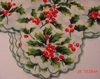 Vintage Christmas Holly & Red Berries Handkerchief  16 - 302