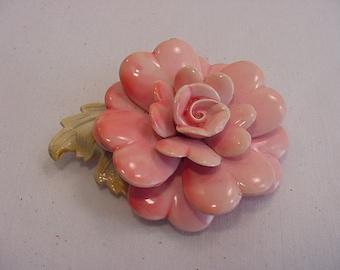 Vintage Pink Flower Blossom Brooch  15 - 25