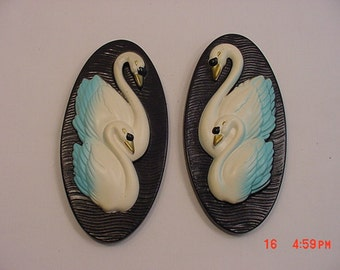 Vintage  Chalk Wall Hanging Swans  16 - 51