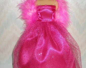 Handmade doll clothes - hot pink satin and glitter tulle gown with boa
