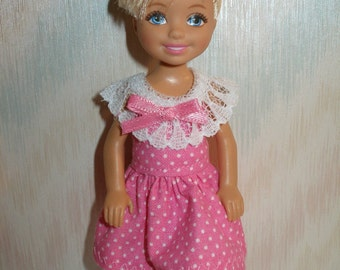 "Handmade 5.5"" little sister fashion doll clothes - pink dotted dress with lace"