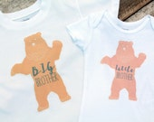 NEW Big Brother Little Brother Bear Onesie and Shirt, Baby Boy Onesie, Toddler Shirt, Graphic Boy Onesie, Matching Clothes, Siblings Clothes