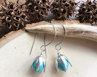 Metal seed pod and stone hoop earrings, seed pod hook hoops