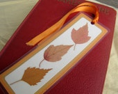 Pressed Real Fall Autumn Leaves Orange Gold and Yellow Laminated Bookmark