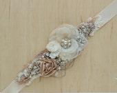 Wedding belt sash, Wedding sash, Bridal belt, Floral belt sash, Wedding dress belt, Bridal sash, Ivory Champagne Rose Gold Silver