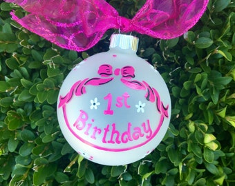 Baby's First Birthday Ornament - Personalized Ornament- Handpainted for Birthday or Christmas,  Baby's First Christmas, 1st Birthday