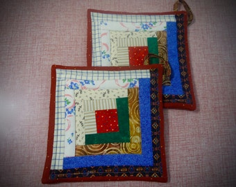 Log Cabin Patchwork  potholder, patchwork hot pad, quilted potholder, tea rug trivet