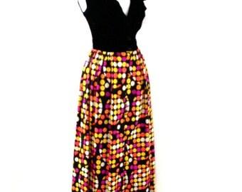 Vintage 70s Boho Maxi Dress - 1970s Op Art Hostess Dress - Black Velvet and Velour Long Dress - Sleeveless Boho Hippie Dress - Size Medium