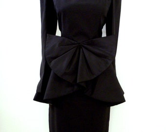 Vintage Black Crepe 80s Peplum Dress with Huge Bow - Long Sleeve 1980s Black Party Dress by Huey Waltzer - Size Medium 9 10