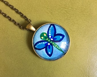 Hand-painted Dragonfly Pendant with necklace, mini wearable art, NOT A PRINT