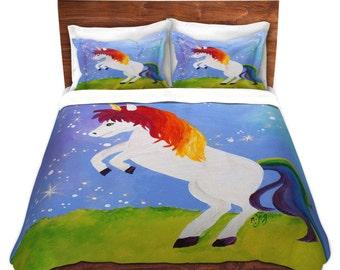 Rainbow Unicorn, Duvet Cover, bedding for girls room, nursery decor