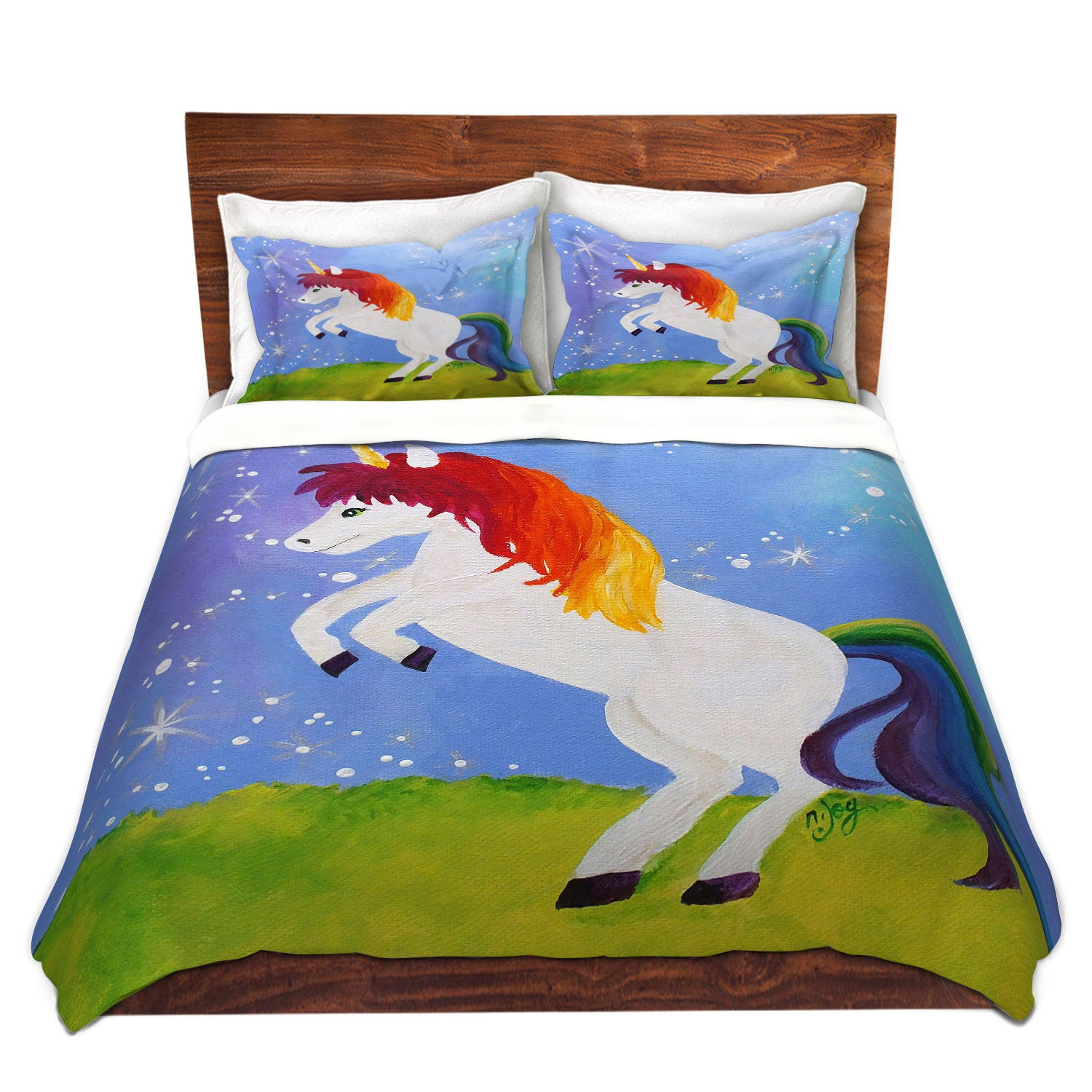 Rainbow Unicorn Duvet Cover Bedding For Girls Room Nursery