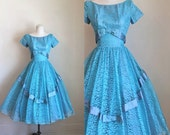 vintage 1950s prom dress - ICY BLUE lace party dress / XS