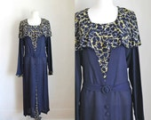 vintage 1930s dress - LONGING for SPRING navy rayon dress / XL