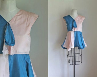 vintage 1950s show costume - TRAPEZE colorblock tunic top / mini dress  / XXS / teen