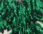 Vintage Peter Pan Bejeweled Sequined Scalloped Leaves Edge Green Top Blouse Raglan Sleeve