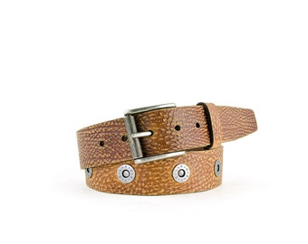 PORTELBELT - - innovative adjustable AGED buffalo leather belt - - LIGHTBROWN