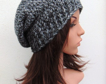 Grey Gray  Slouch Hat Crochet Slouch Hat Womens Slouch Hat Handmade in Ireland