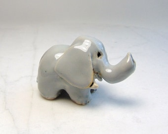 Pottery Elephant Miniature - African Animal - Pottery Animal - Ring Holder - Terrarium Miniature - Clay Animal